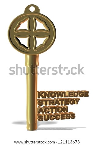 A golden key made from basic business words / Business key - stock photo