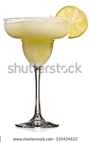 A Golden Margarita with a Lime on the SIde Isolated - stock photo