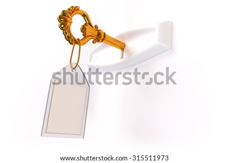 A golden skeleton key with a blank label in a white keyhole on a white background. - stock photo