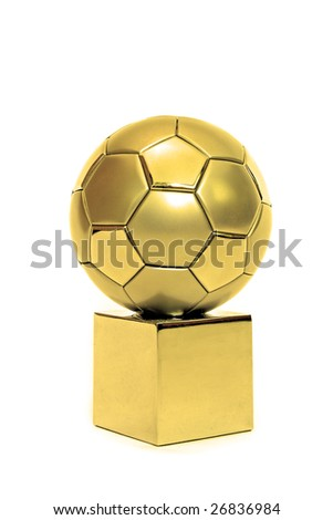 A golden soccer trophy. All on white background. - stock photo
