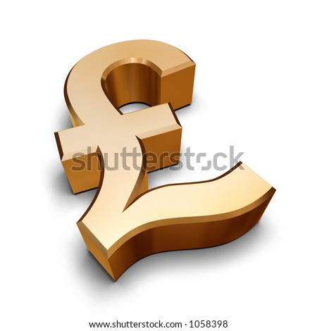 A golden Sterling Pound symbol isolated on a white background (3D rendering) - stock photo