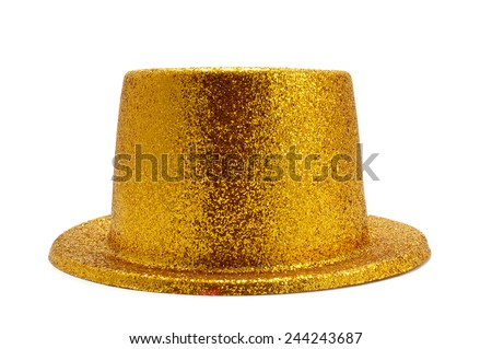a golden top hat on a white background - stock photo
