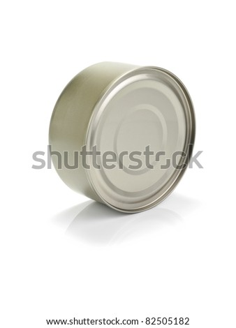 A golden tuna fish tin can isolated on white. - stock photo