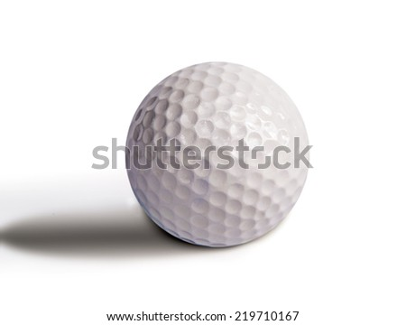a golf ball on white background - stock photo
