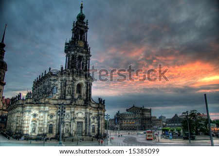 A gorgeous HDR image of a famous cathedral in Dresden, Germany - stock photo
