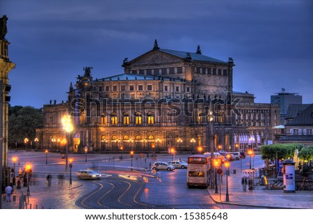A gorgeous HDR image of the famous Dresden Opera House. - stock photo