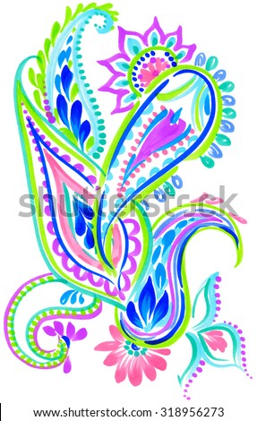 a gorgeous  single paisley composition, isolated on white. Bohemian style, hand drawn artwork, for fashion or interior. Indian, gypsy, boho inspired, neon colors, beautiful elements.  - stock photo