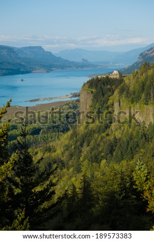 A gorgeous view of the Columbia River Gorge in the Pacific Northwest of the United States - stock photo