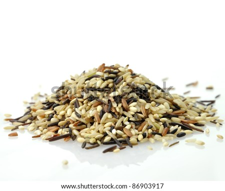 a gourmet blend of wild and whole grain brown rice - stock photo