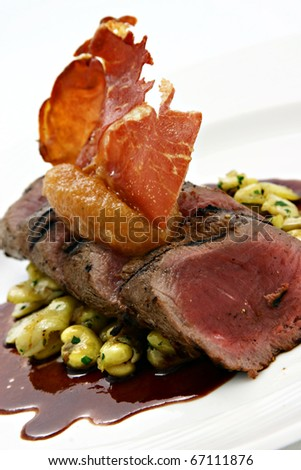 A gourmet fillet mignon steak at five star restaurant. - stock photo