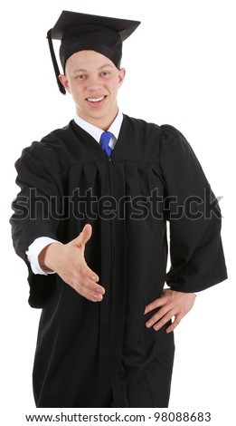 A graduate offering a handshake, isolated on white - stock photo