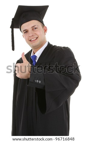 A graduate with a thumbs up sign, isolated on white - stock photo