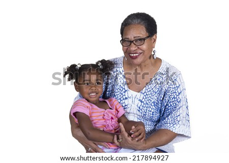 A grandmother and her granddaughter - stock photo