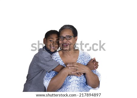 A grandmother and her grandson isolated - stock photo