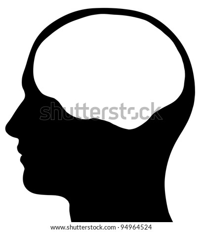 A graphic of a male head silhouette with a white brain area. Isolated on a solid white background. - stock photo