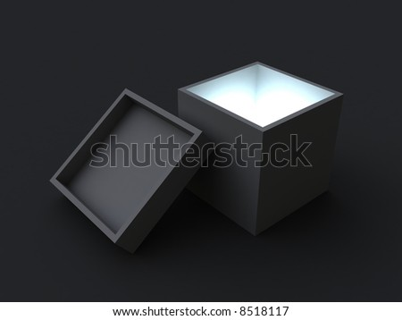 A gray opened box, with a blue light inside of it. - stock photo