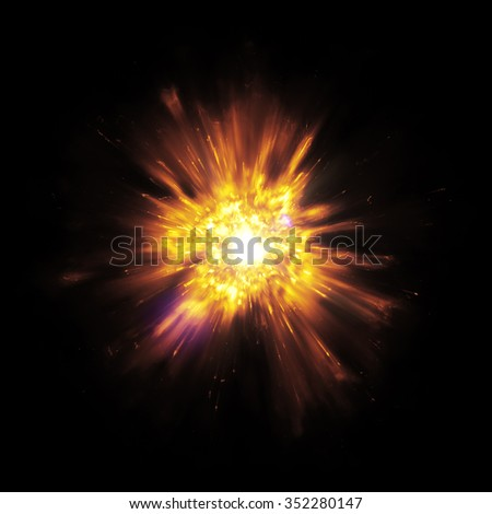 A great detailed explosion with flying sparks - stock photo