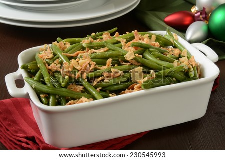 A green bean casserole with crispy fried onions - stock photo