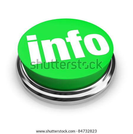 A green button with the word Info representing a way to get more information to answer your questions on an important matter, product or news feature - stock photo