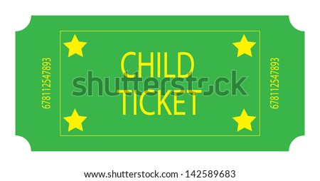 A Green Child Ticket - stock photo
