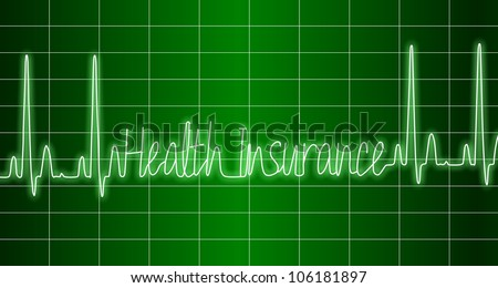 a green ECG monitor spelling words health insurance / health insurance ECG - stock photo