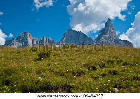 a green field background and the profile of the Pale di San Martino, Dolomites - Italy - stock photo