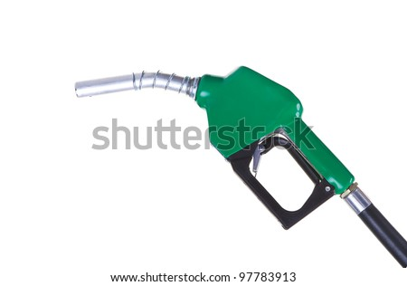 A green fuel nozzle on a white background - stock photo