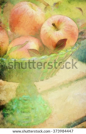 A green glass centerpiece filled with harvest apples turned into a colorful autumn painting - stock photo