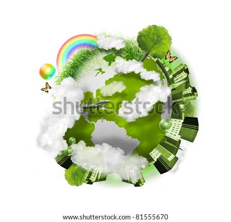 A green globe of the earth is isolated on a white background with clouds, a city, trees and grass around it. Use it for a nature concept. - stock photo