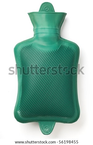 a green hot water bag on white - with clipping path - stock photo