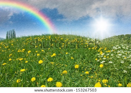 a green meadow with dandelion and april weather with sun, rain and a rainbow in the sky - stock photo