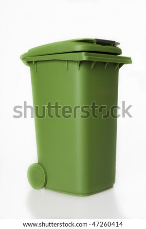 A green plastic garbage bin isolated over white background, great for recycling concepts and designs. - stock photo