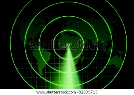 A green radar with a world map - stock photo