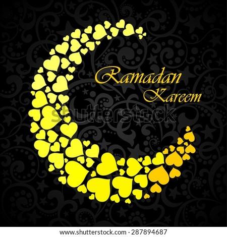 A greeting card template 'Ramadan Kareem'. Black background with isolated icon for ramadan kareem.  Illustration - stock photo