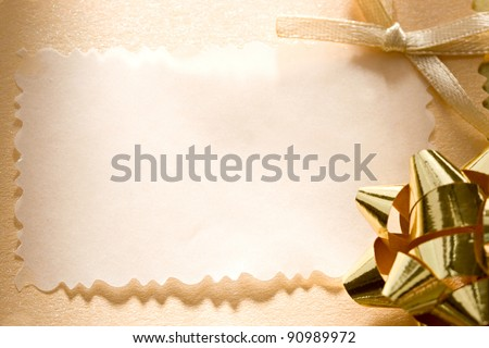 A greeting card with a bow - stock photo