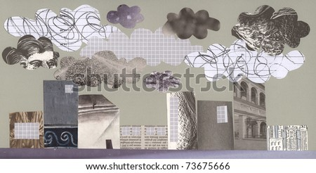 A grey city full of pollution: artwork. - stock photo