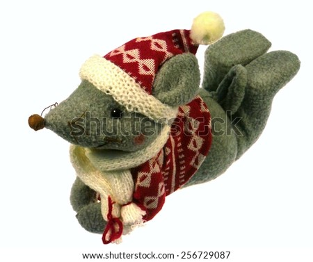A grey Mouse with a red jacket over white - stock photo