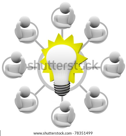 A grid of networked team members - maybe a crowdsource group - brainstorms a solution to a problem - stock photo