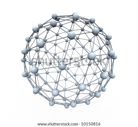 a grid of spheres creating a big sphere - stock photo