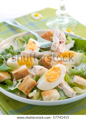A grilled chicken caesar salad with crunchy croutons. Healthy and delicious! - stock photo