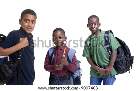 A group of african american students ready for school. Education, learning - stock photo