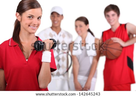 A group of athletes - stock photo
