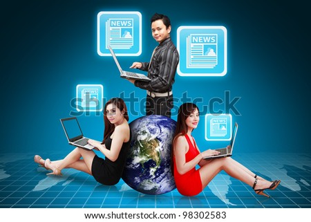 A Group of business people and News Icon : Elements of this image furnished by NASA - stock photo