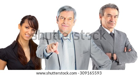 A group of business people. Isolated on a white background. - stock photo