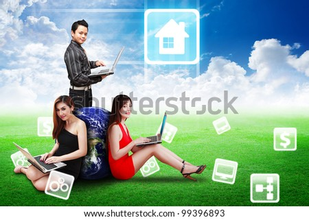 A group of Business team on grass field and present the House icon : Elements of this image furnished by NASA - stock photo