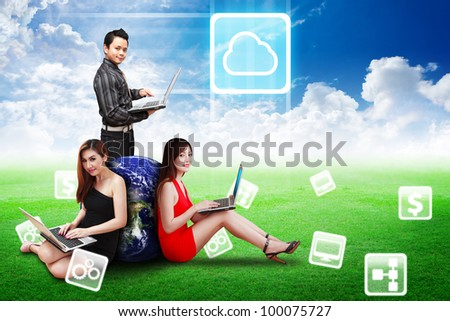 A group of business team present the Cloud icon on the blue sky on grass field : Elements of this image furnished by NASA - stock photo