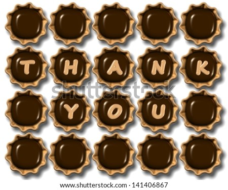 A group of chocolate praline with thank you text on them / Thank you chocolate - stock photo