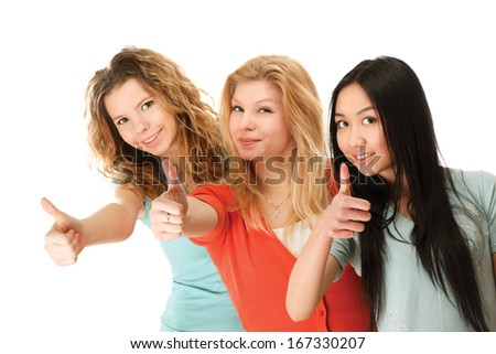 A group of college friends showing ok - stock photo