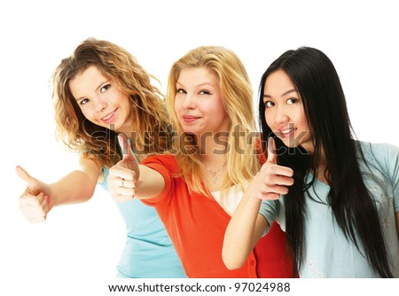 A group of college girls showing ok - stock photo