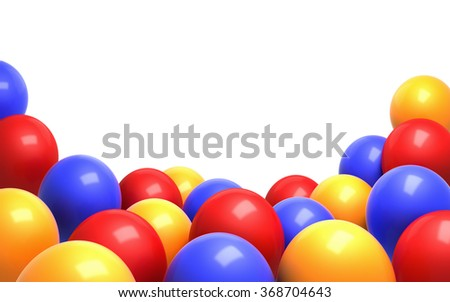 A group of colorful  balloons. Isolated on white background with nicely proportioned copy space. Clipping path is included. - stock photo